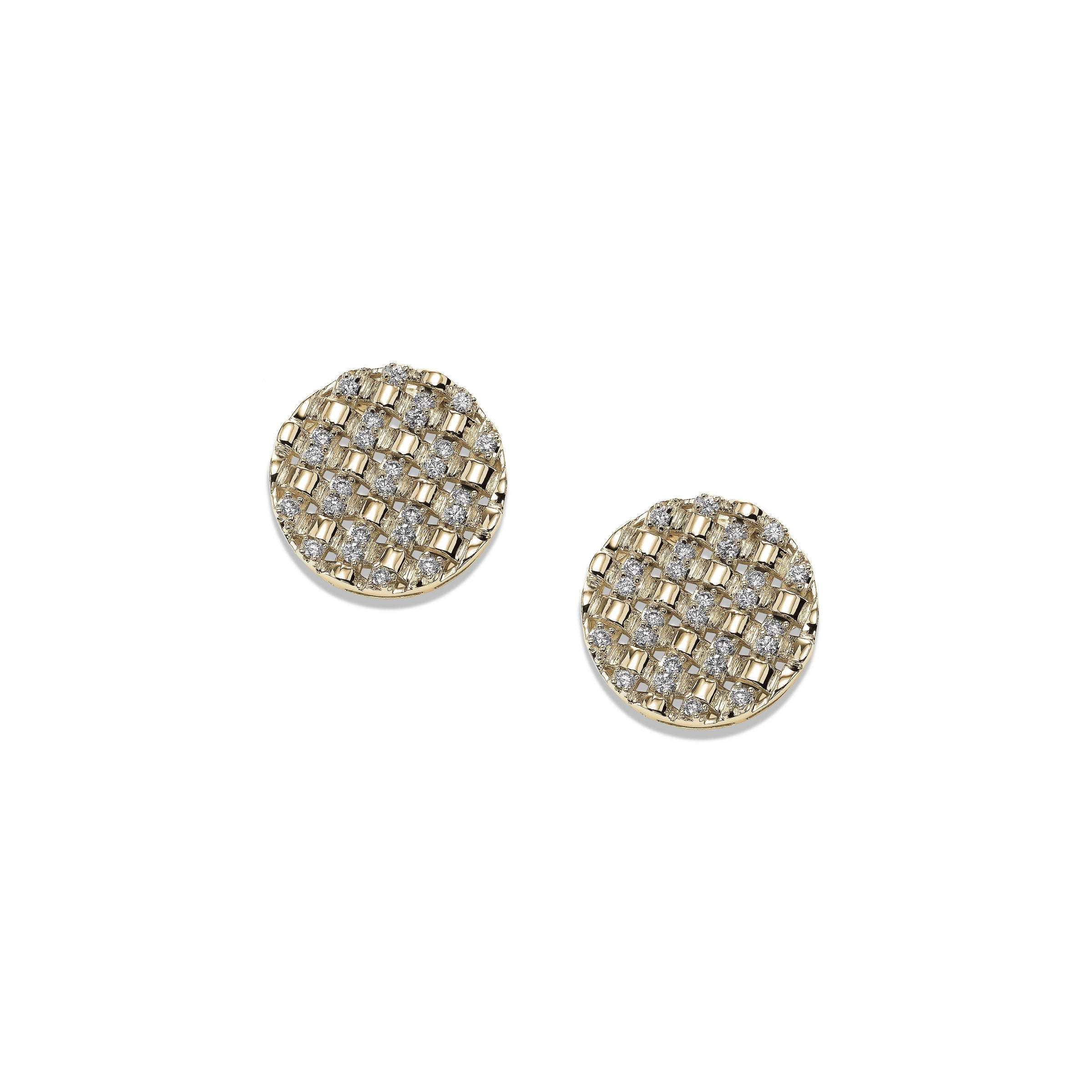 Basket Weave Diamond Disk Earrings, 14K Yellow Gold