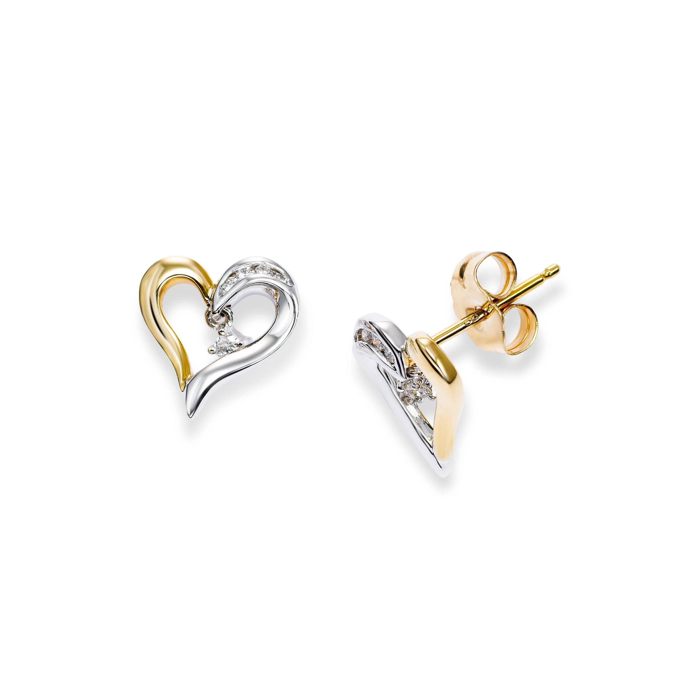 Two Tone Diamond Heart Earrings, 14 Karat Gold