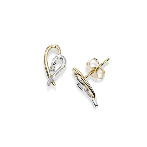 Two Tone Single Diamond Heart Earrings, 14 Karat Gold