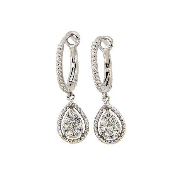 Pear Shaped Diamond Drop Earrings, 14K White Gold
