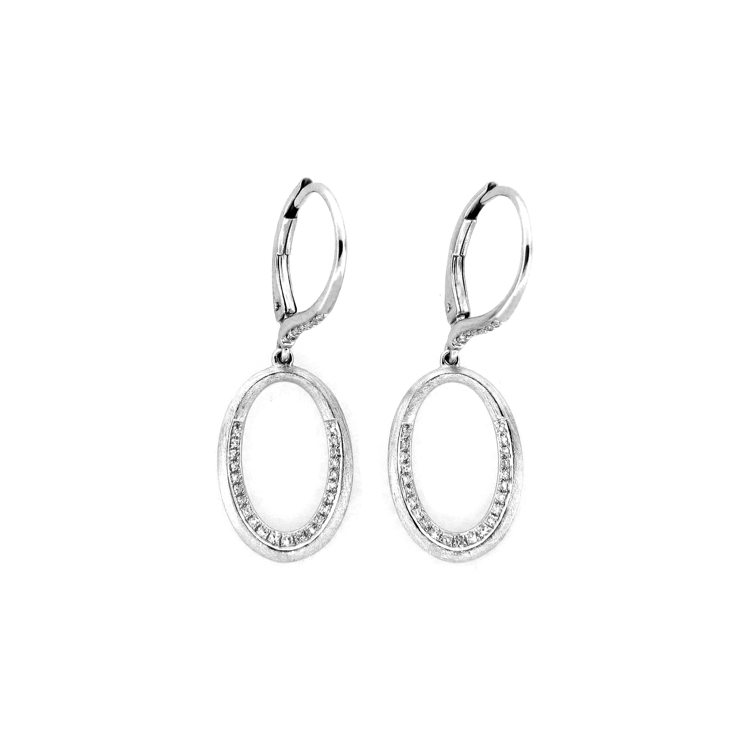 Satin Finish Pavé Diamond Dangle Earrings, 14K White Gold