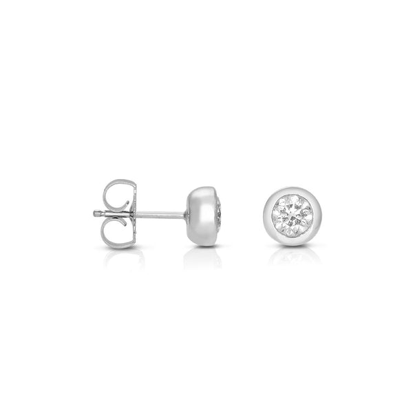 Bezel Set Diamond Stud Earrings, .62 Carat, 14K White Gold