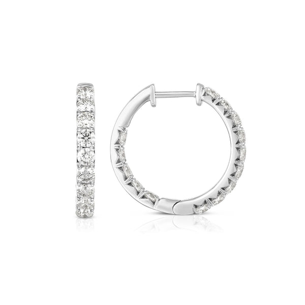 Inside Out Diamond Hoops, .80 Inch, 2 Carats, 14K White Gold