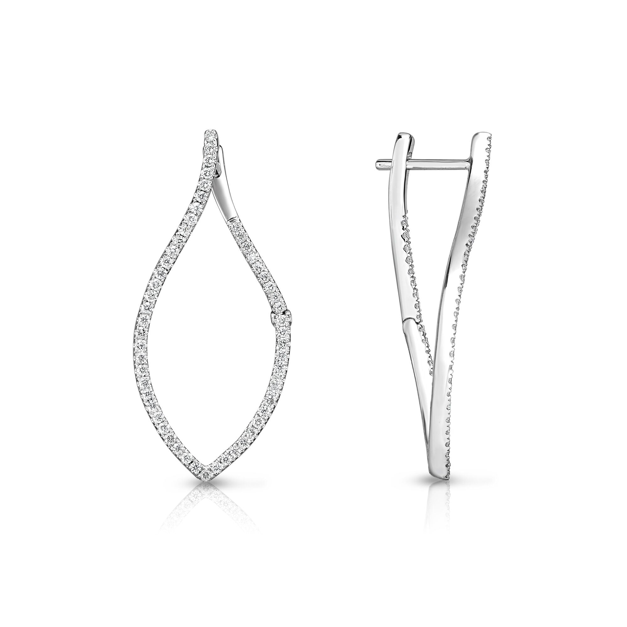 Offset Open Leaf Diamond Earrings, 14K White Gold