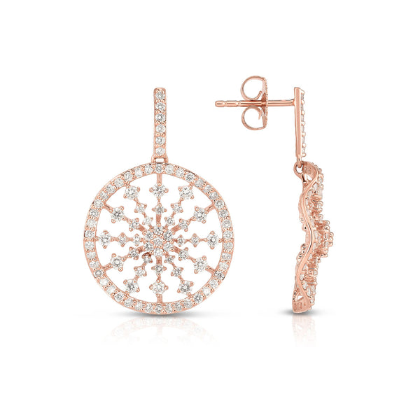 Fancy Diamond Disc Dangle Earrings, 14K Rose Gold