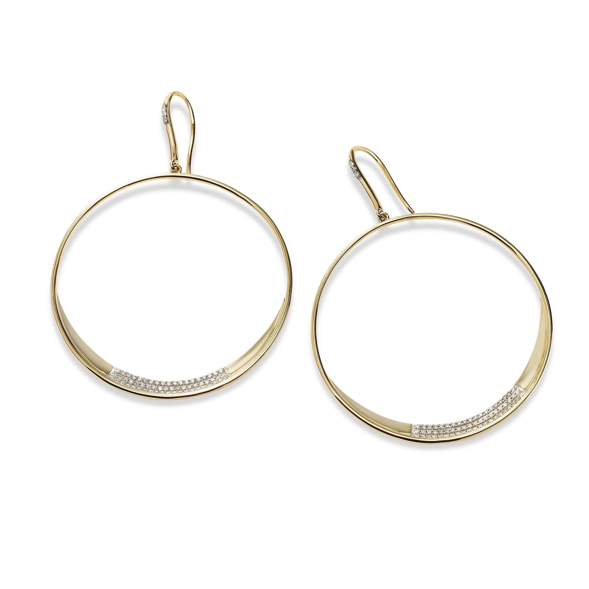 Diamond Hoop Dangle Earrings, 18K Yellow Gold