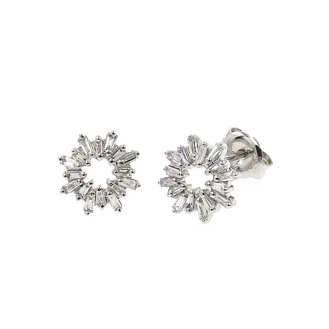 Baguette Diamond Earrings, 14K White Gold