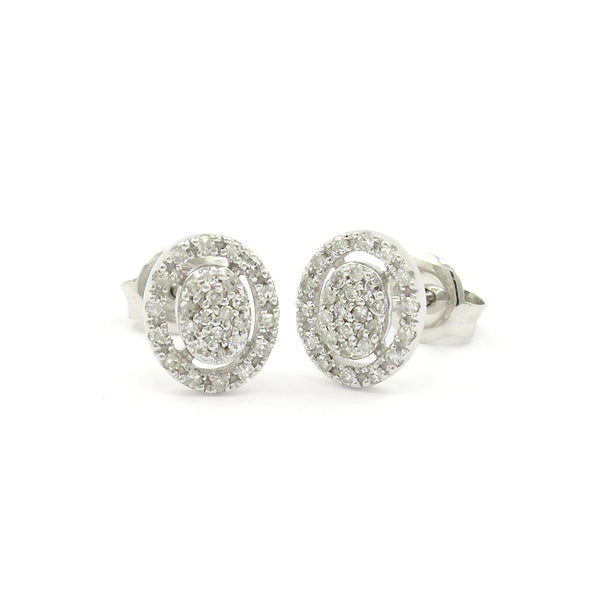 Oval Pavé Diamond Earrings, 14K White Gold