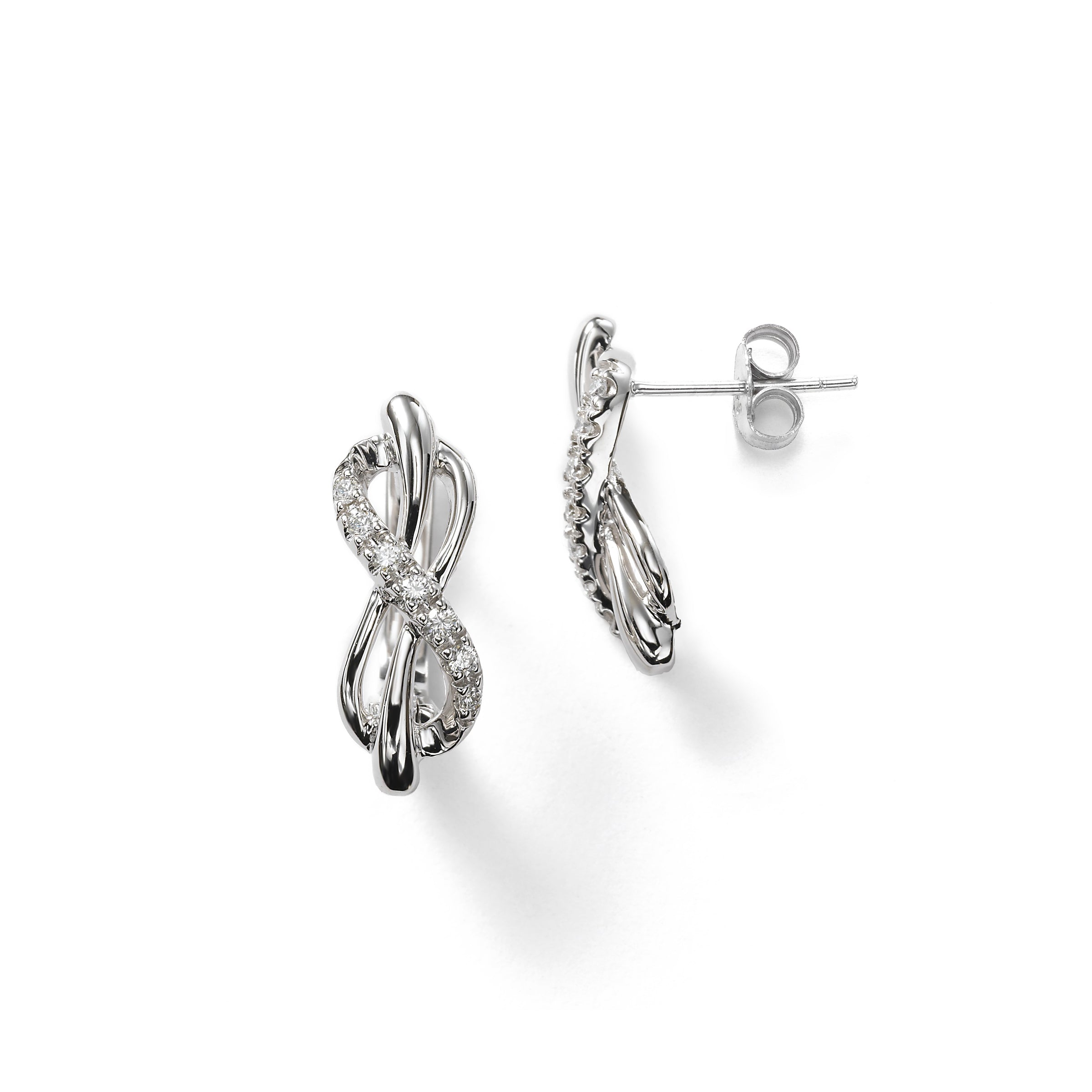 Elongated Knot Diamond Earrings, 14K White Gold
