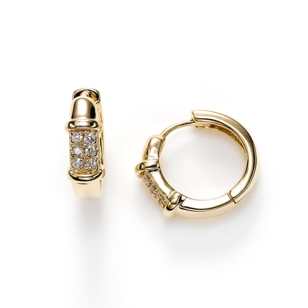 High-Polished Hoop Earrings with Diamonds, 14K Yellow Gold