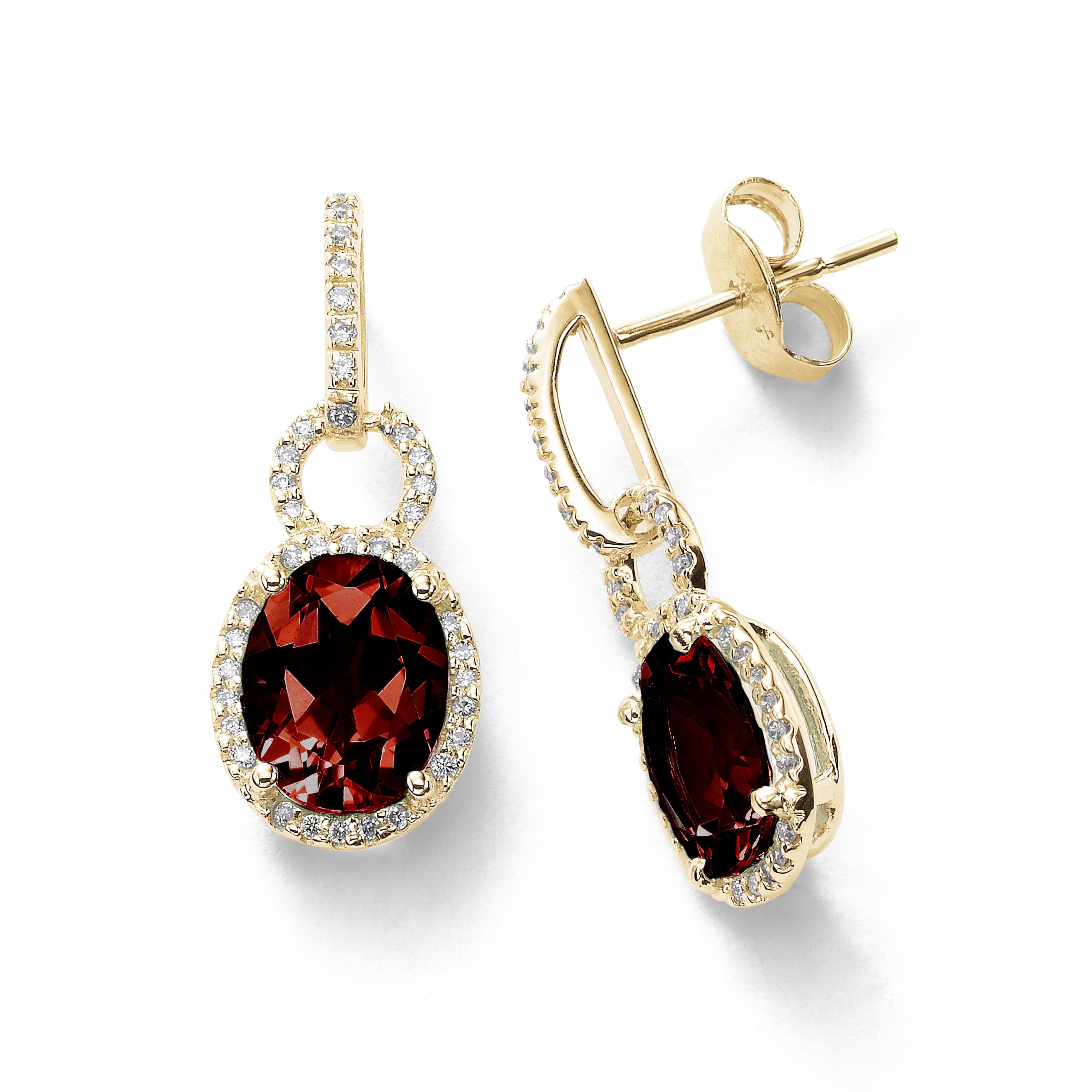 Oval Garnet and Diamond Dangle Earrings, 14K Yellow Gold