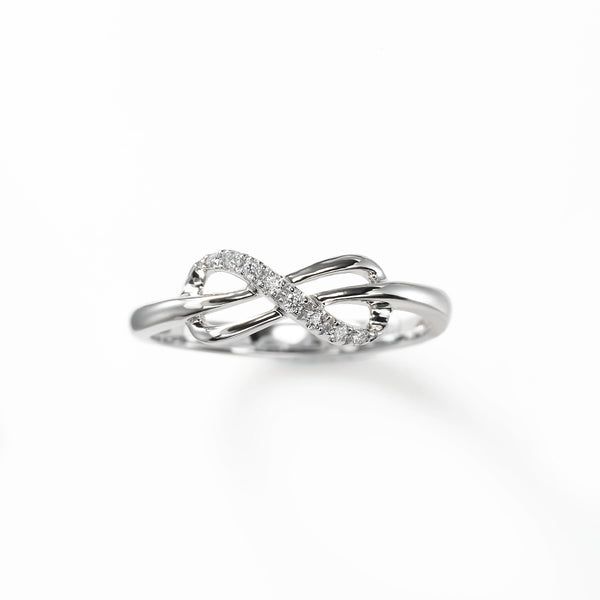 Diamond Knot Design Ring, 14K White Gold