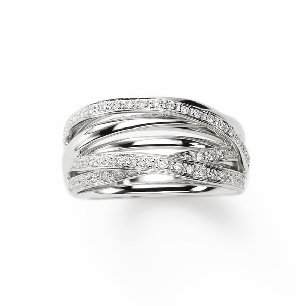 Gold and Diamond Criss Cross Band, 14K White Gold