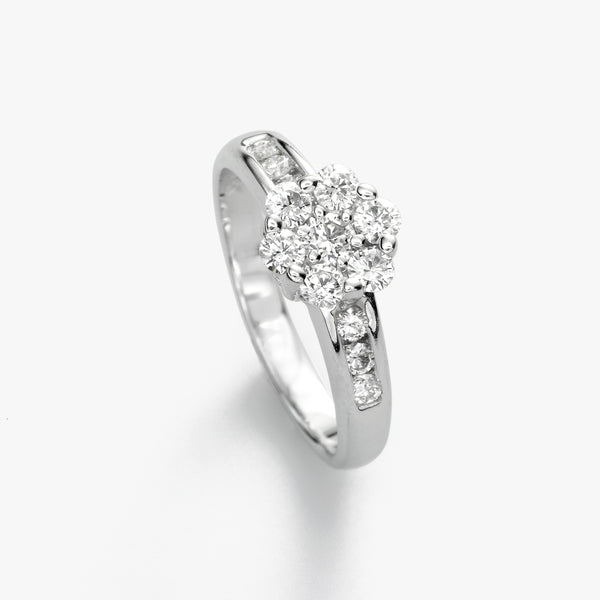 Diamond Cluster Ring, 14K White Gold
