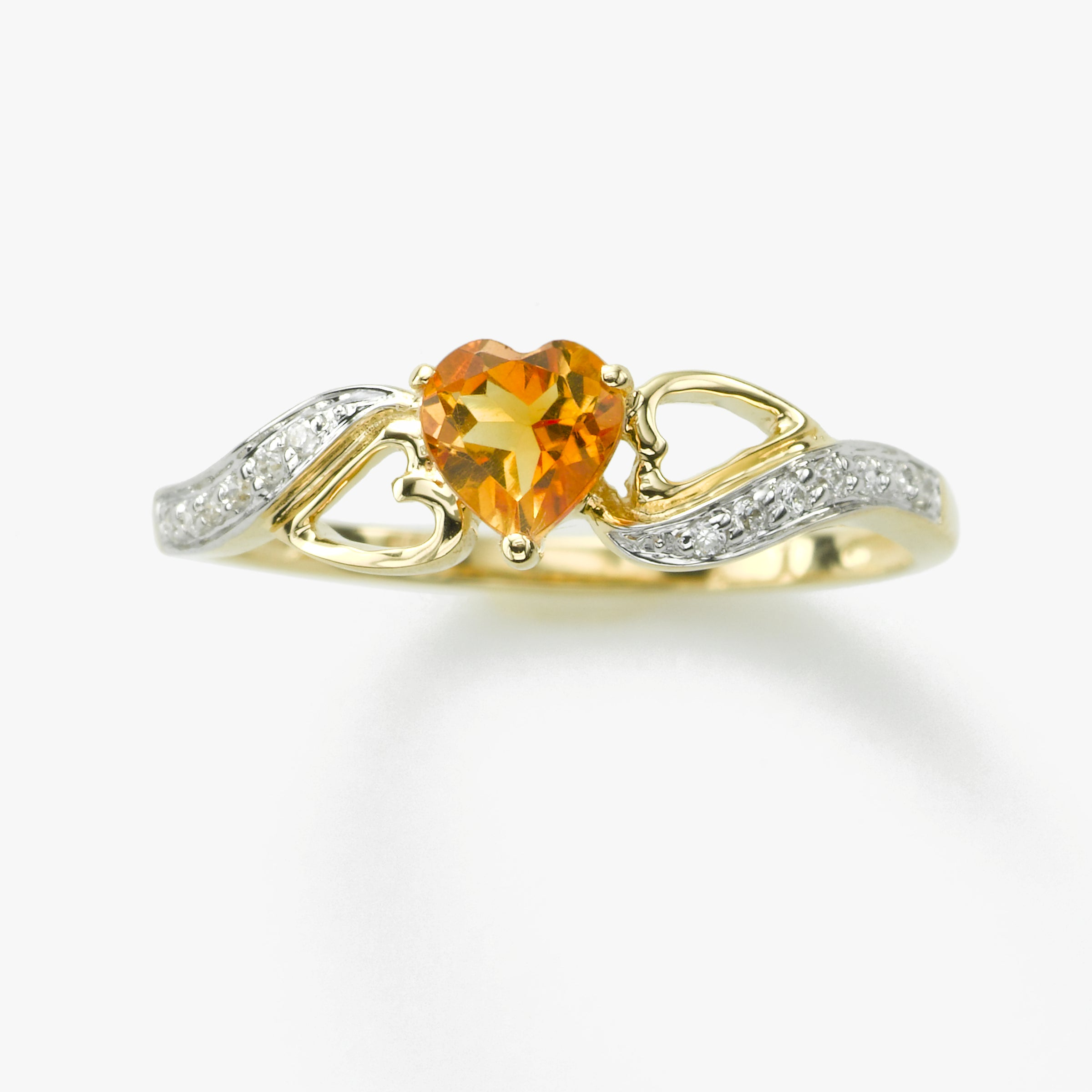 Citrine Heart Diamond Ring, 14K Yellow Gold