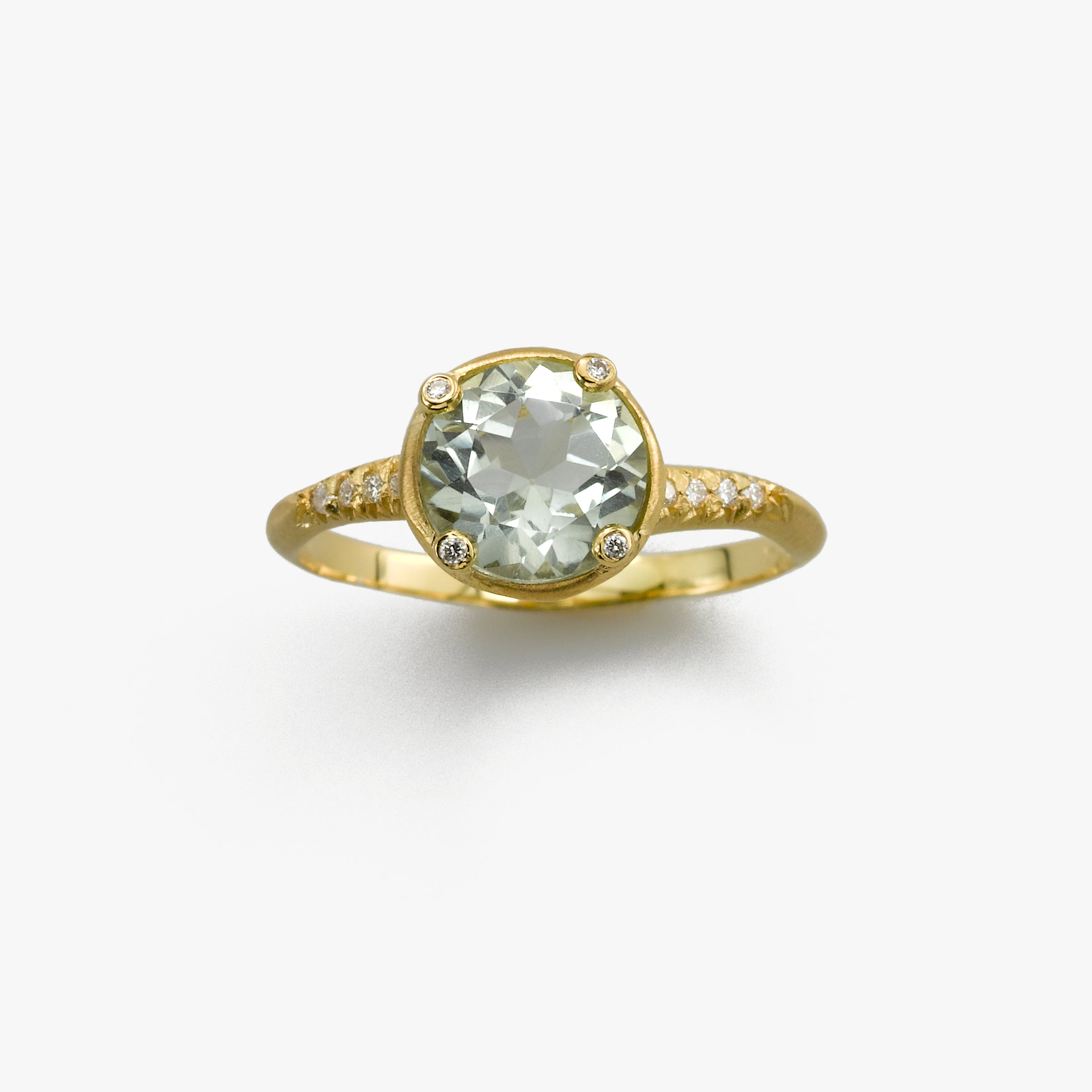 Prasiolite and Diamond Ring, 14K Yellow Gold