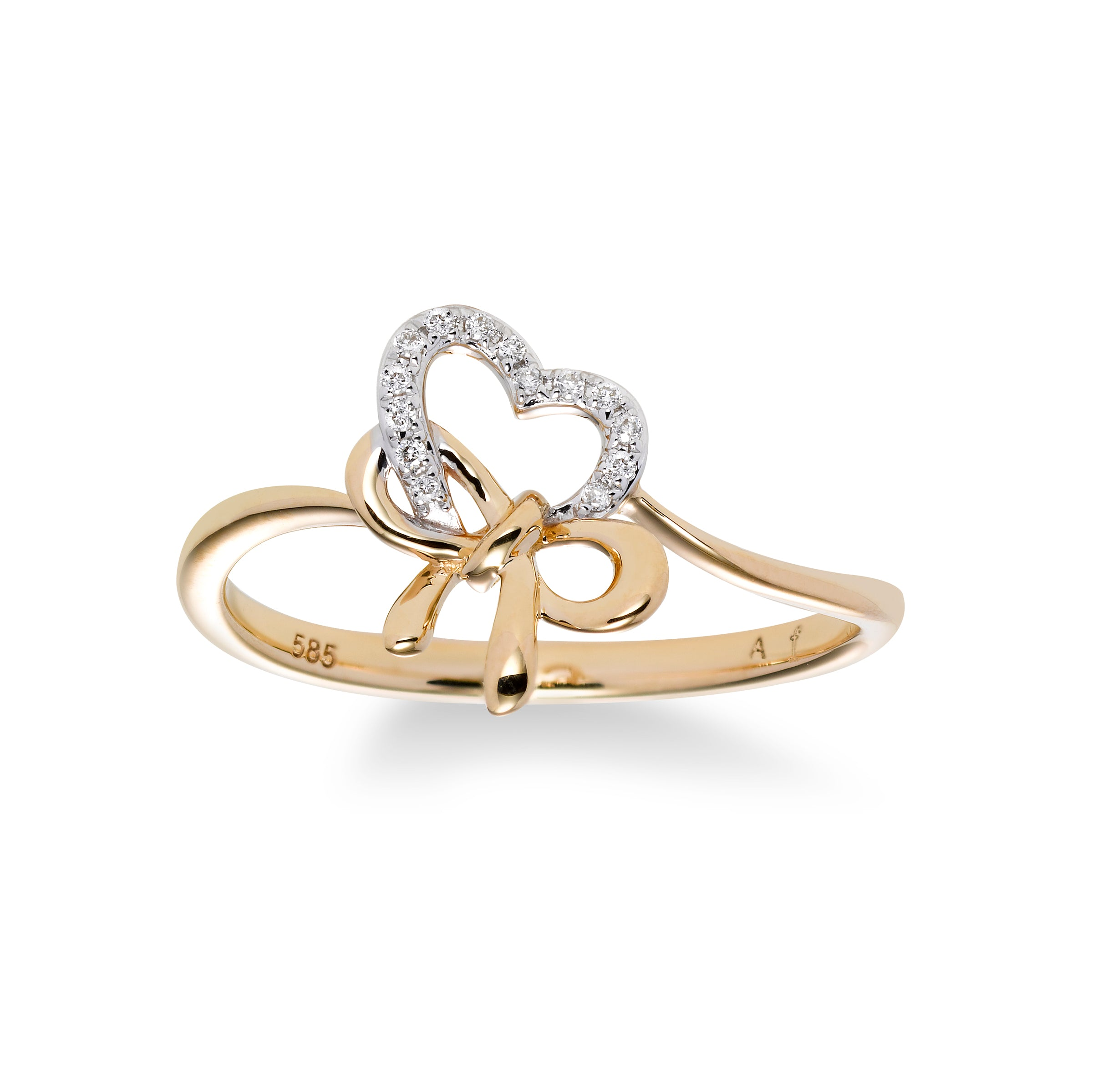Diamond Heart and Bow Ring, 14K Yellow Gold