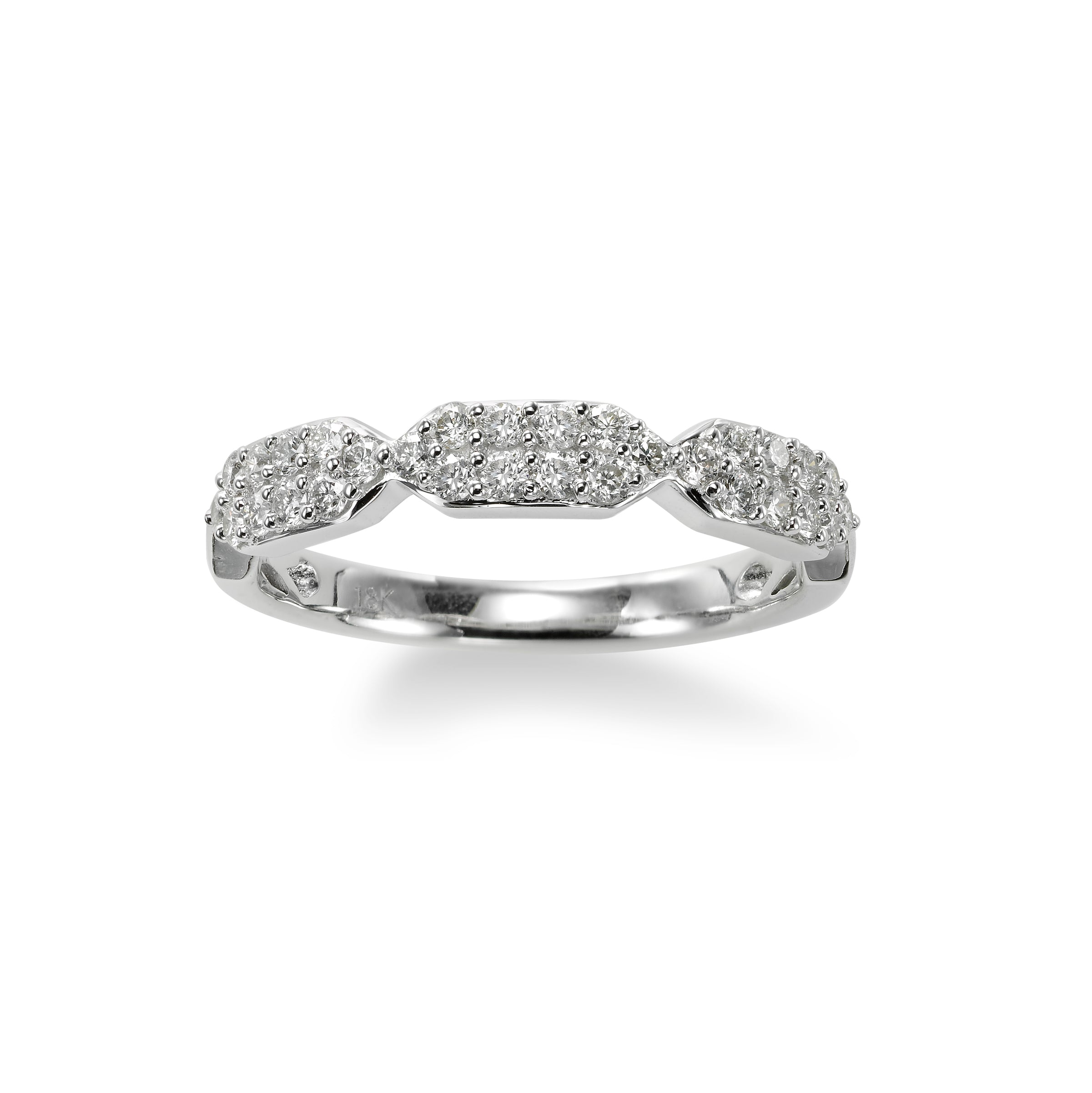 Diamond Pave Ring, 18K White Gold