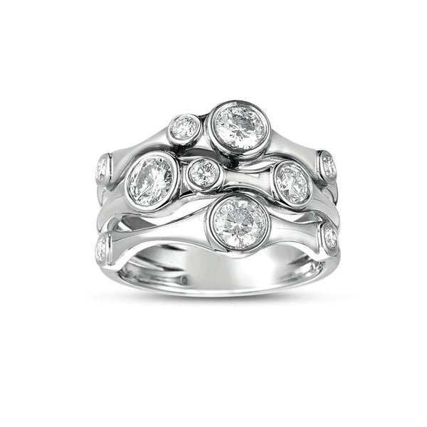 Organic Three Strand Diamond Ring, 14K White Gold