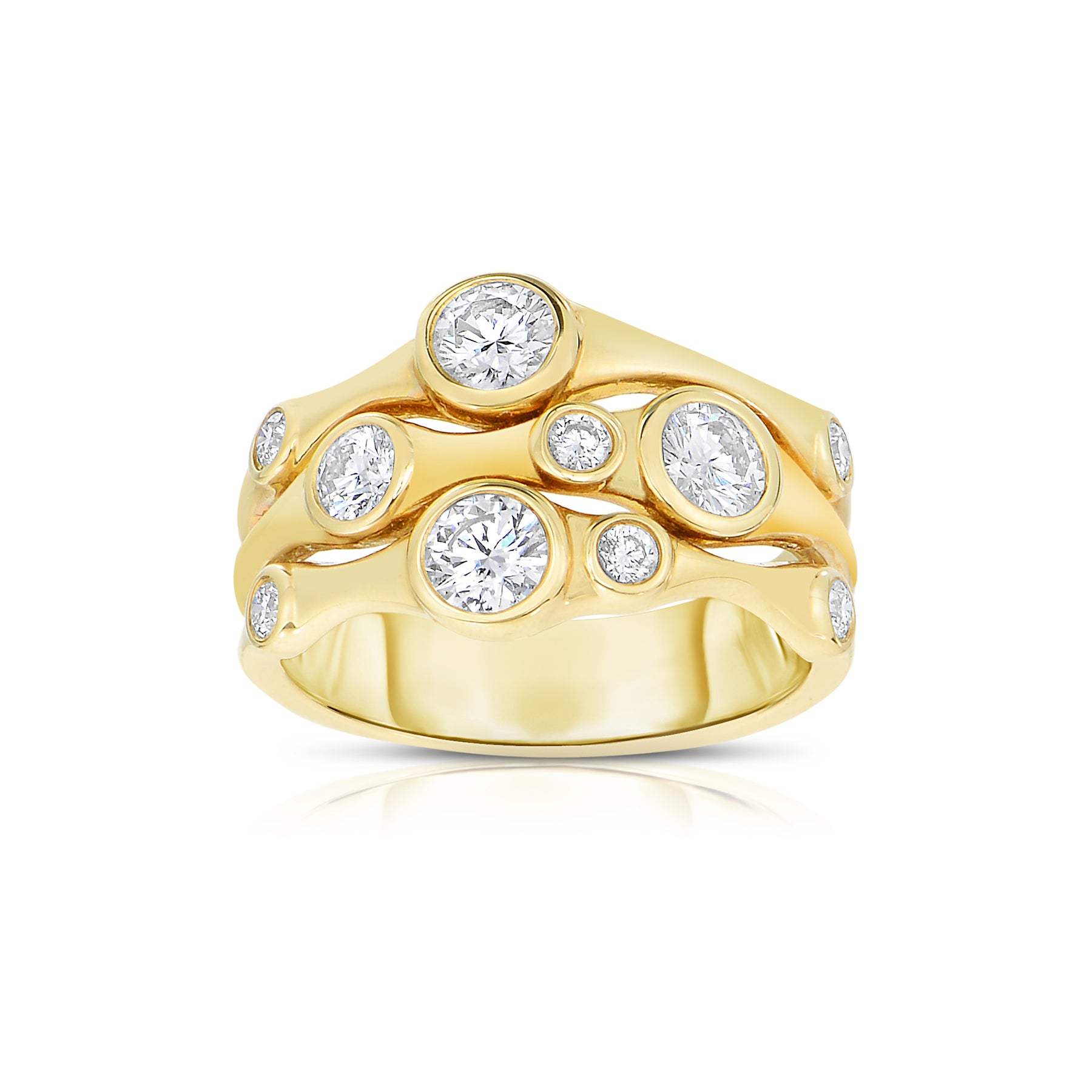 Organic Three Strand Diamond Ring, 14K Yellow Gold