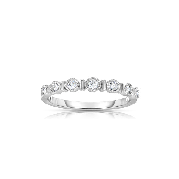 Milgrain Bezel Set Diamond Band, 14K White Gold
