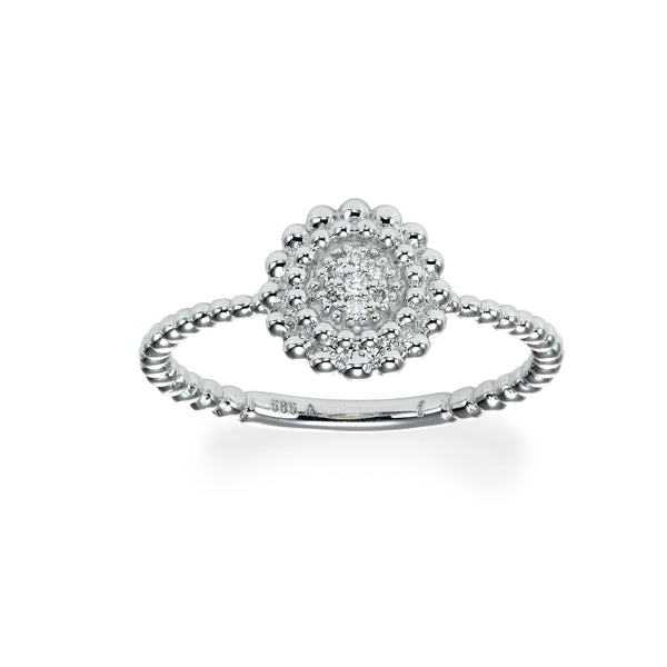 Round Pave Diamond Cluster Ring, 14K White Gold