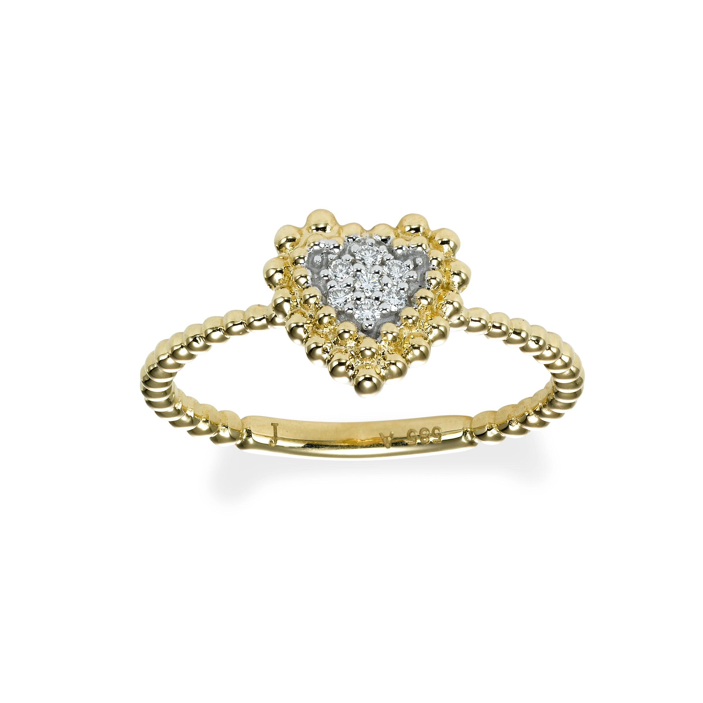 Small Pave Diamond Heart Ring, 14K Yellow Gold
