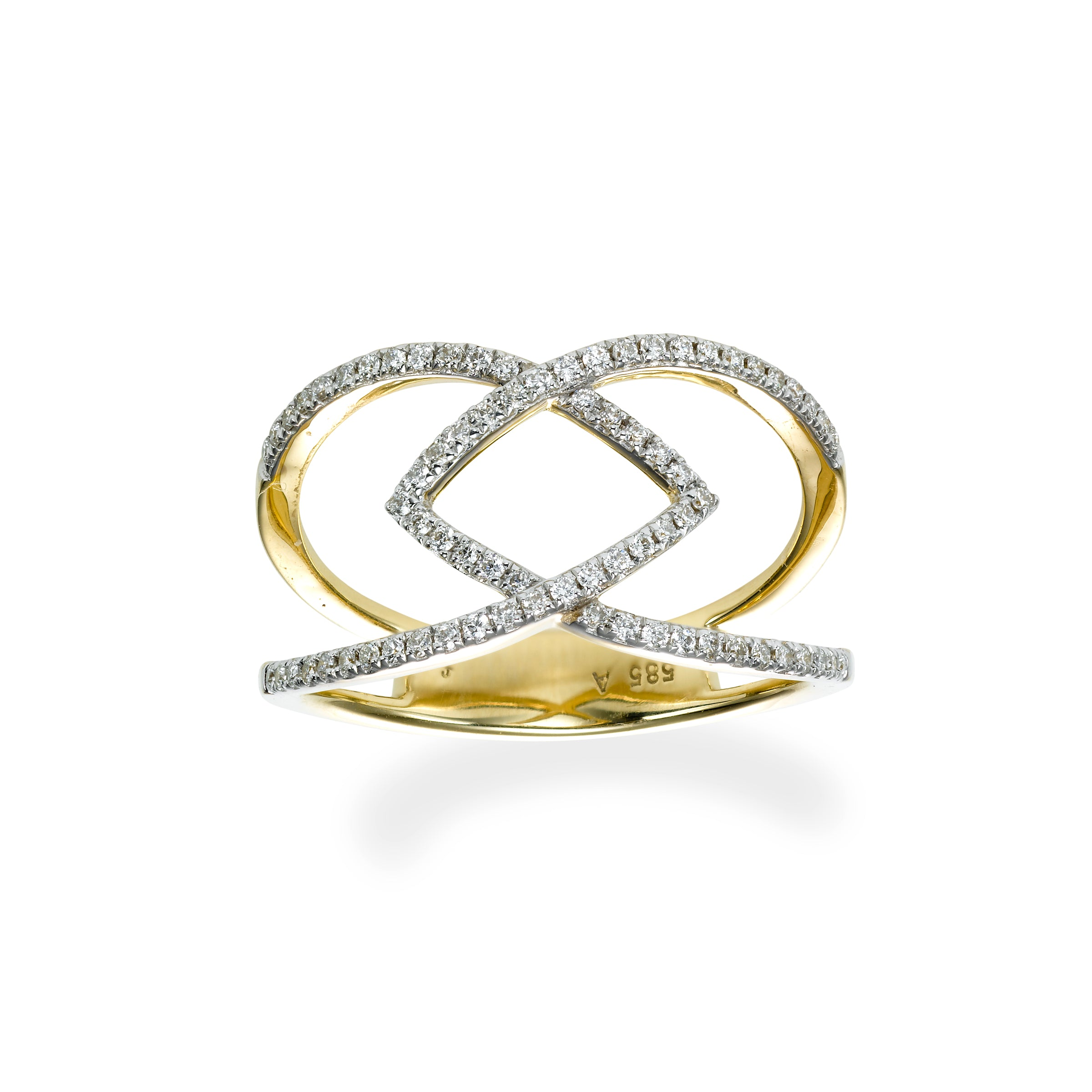 Open Interlocking Diamond Ring, 14K Yellow Gold