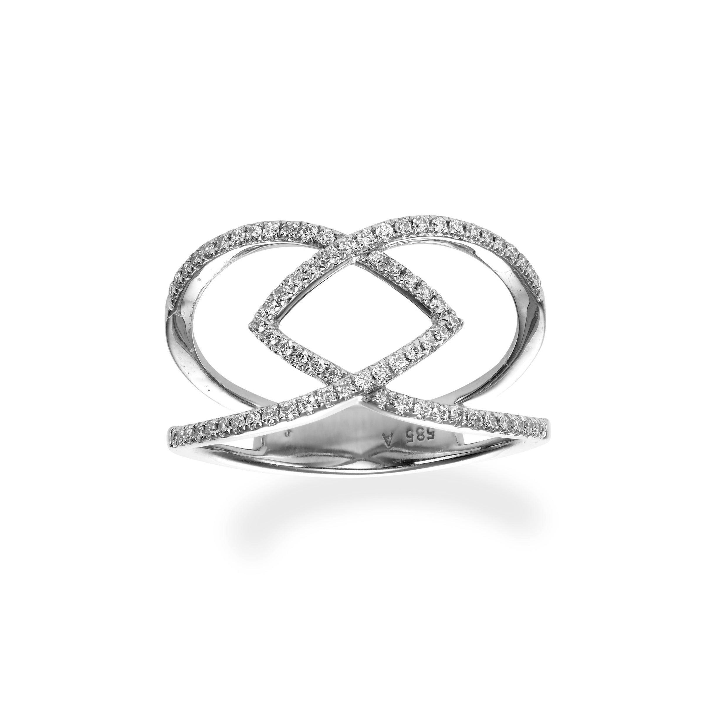 Open Interlocking Diamond Ring, 14K White Gold
