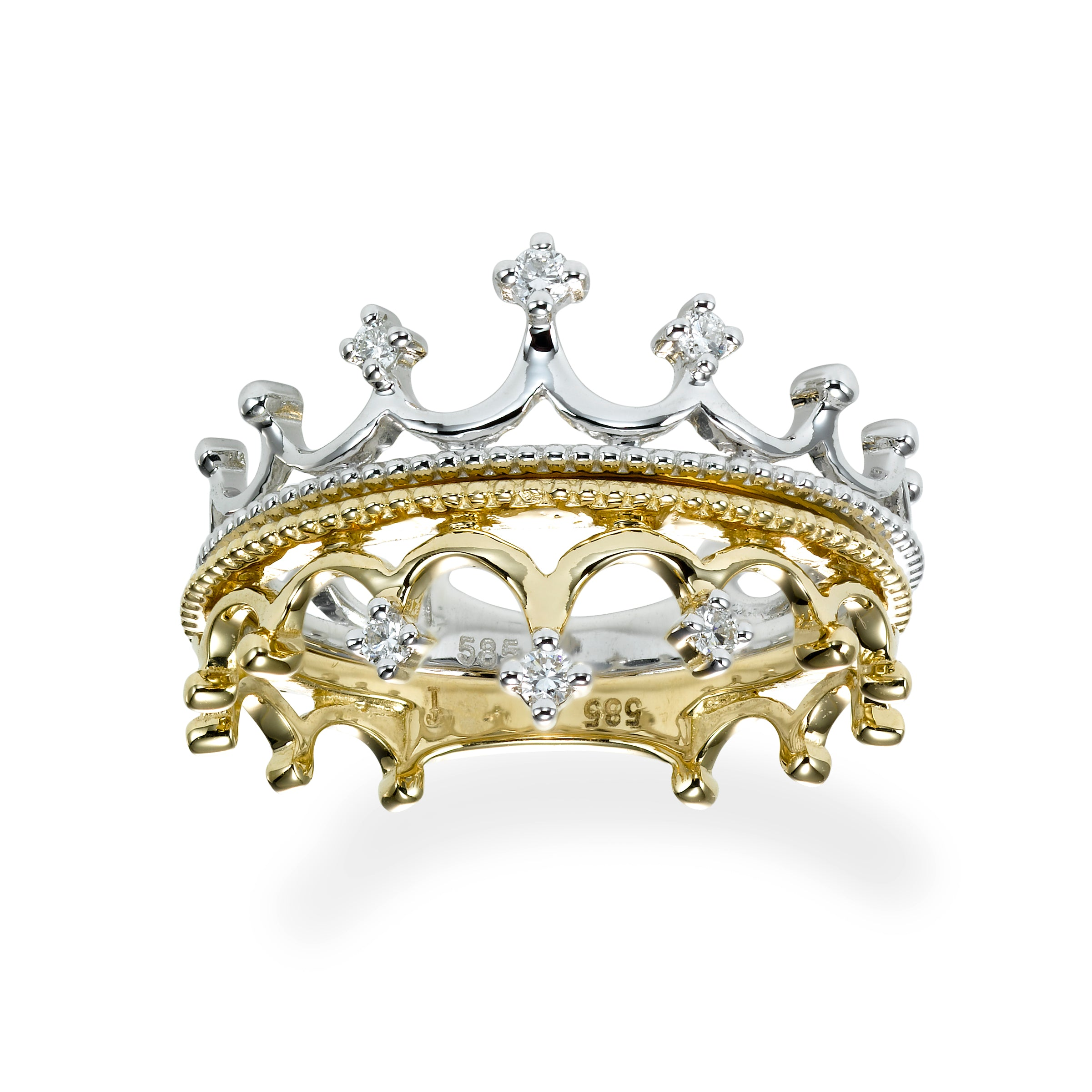 Crown Shape Ring With Diamonds, 14K White Gold