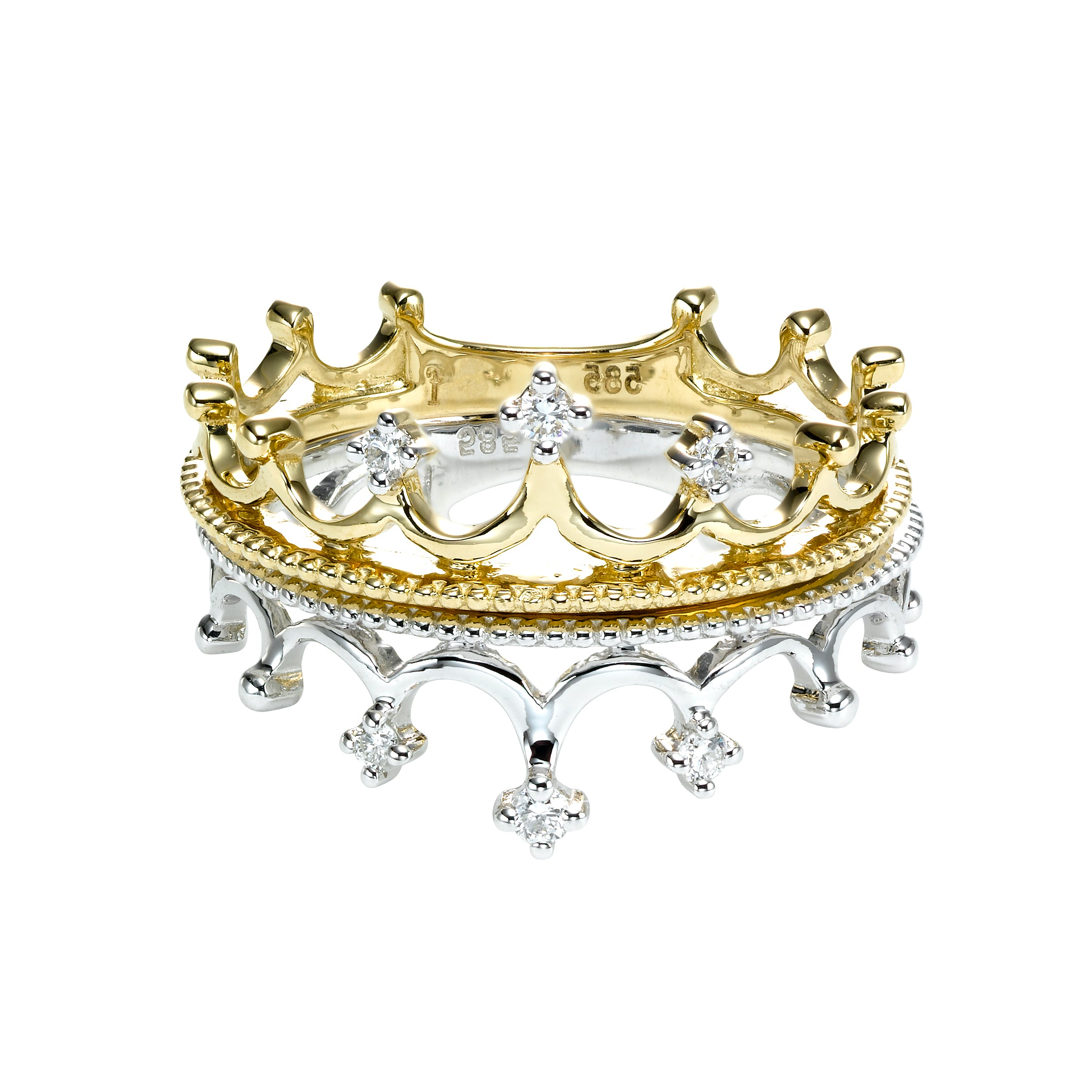 Crown Shape Ring With Diamonds, 14K Yellow Gold