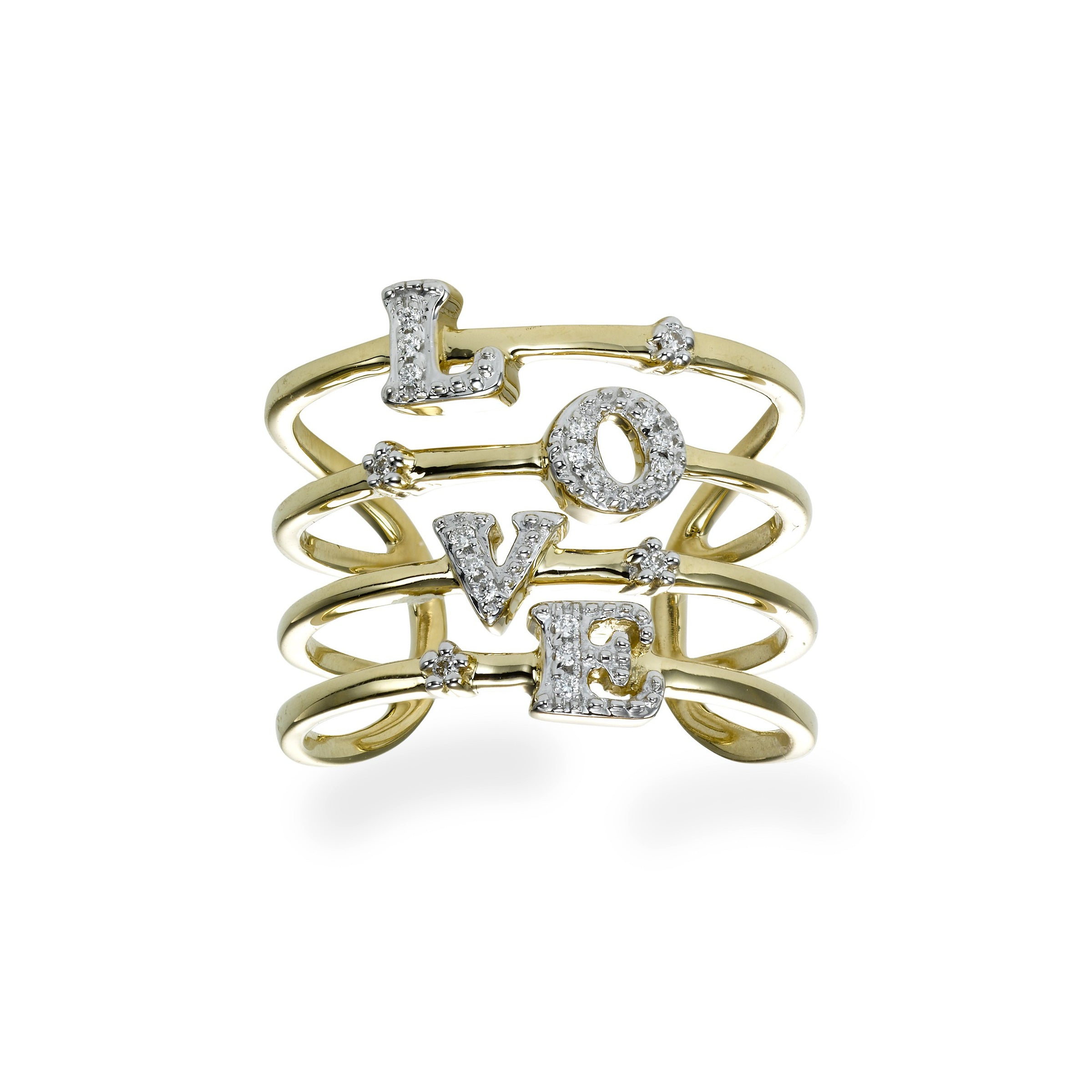 LOVE Letters Diamond Ring, 14K Yellow Gold