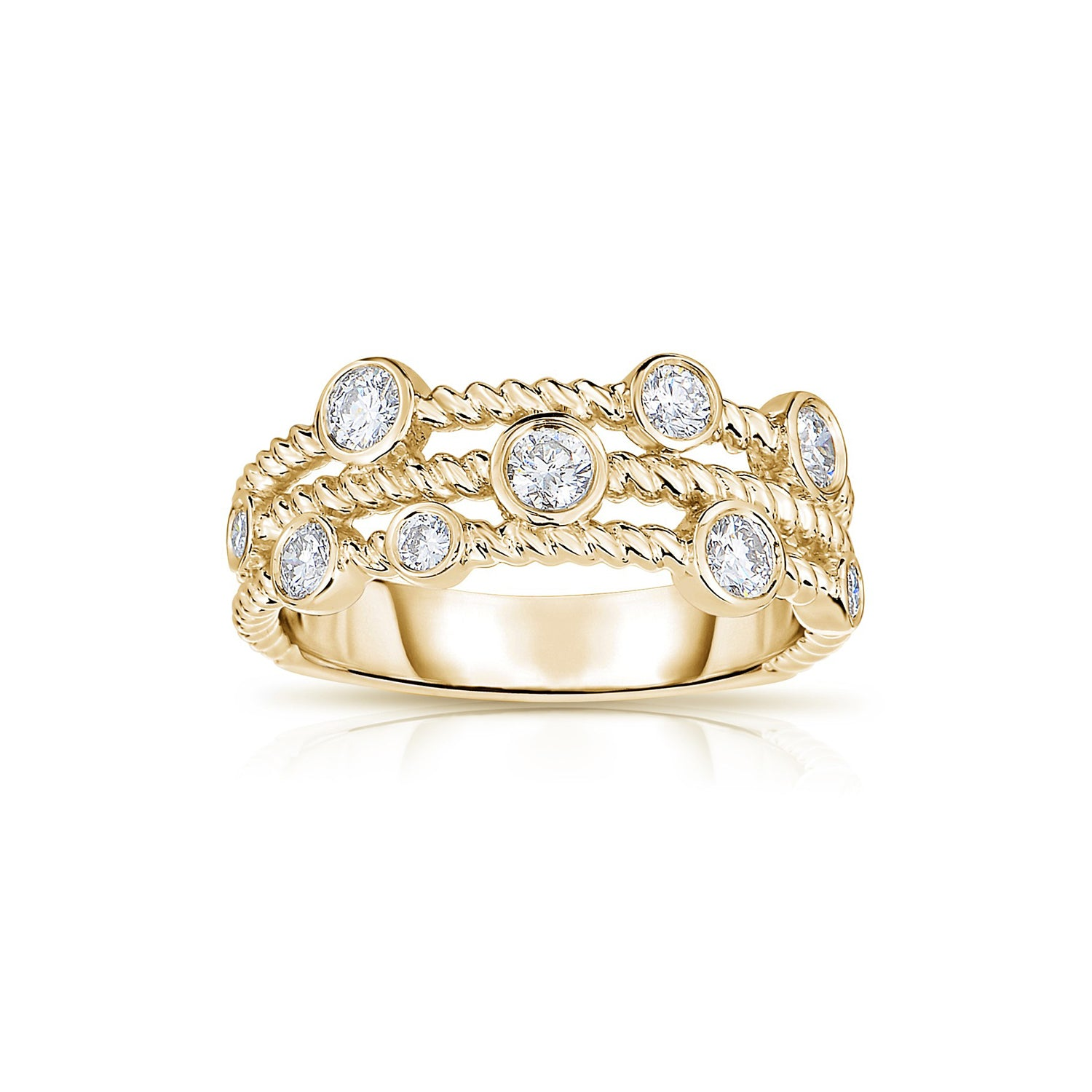 Three Strand Rope Design Diamond Ring, 14K Yellow Gold