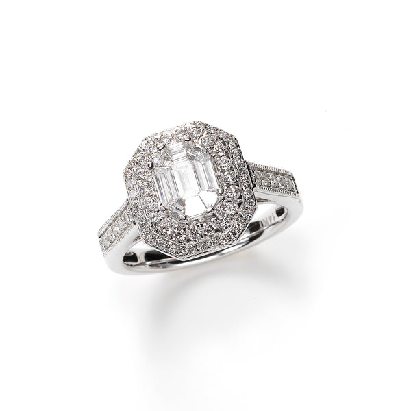 Statement Diamond Ring With Double Halo, 14K White Gold