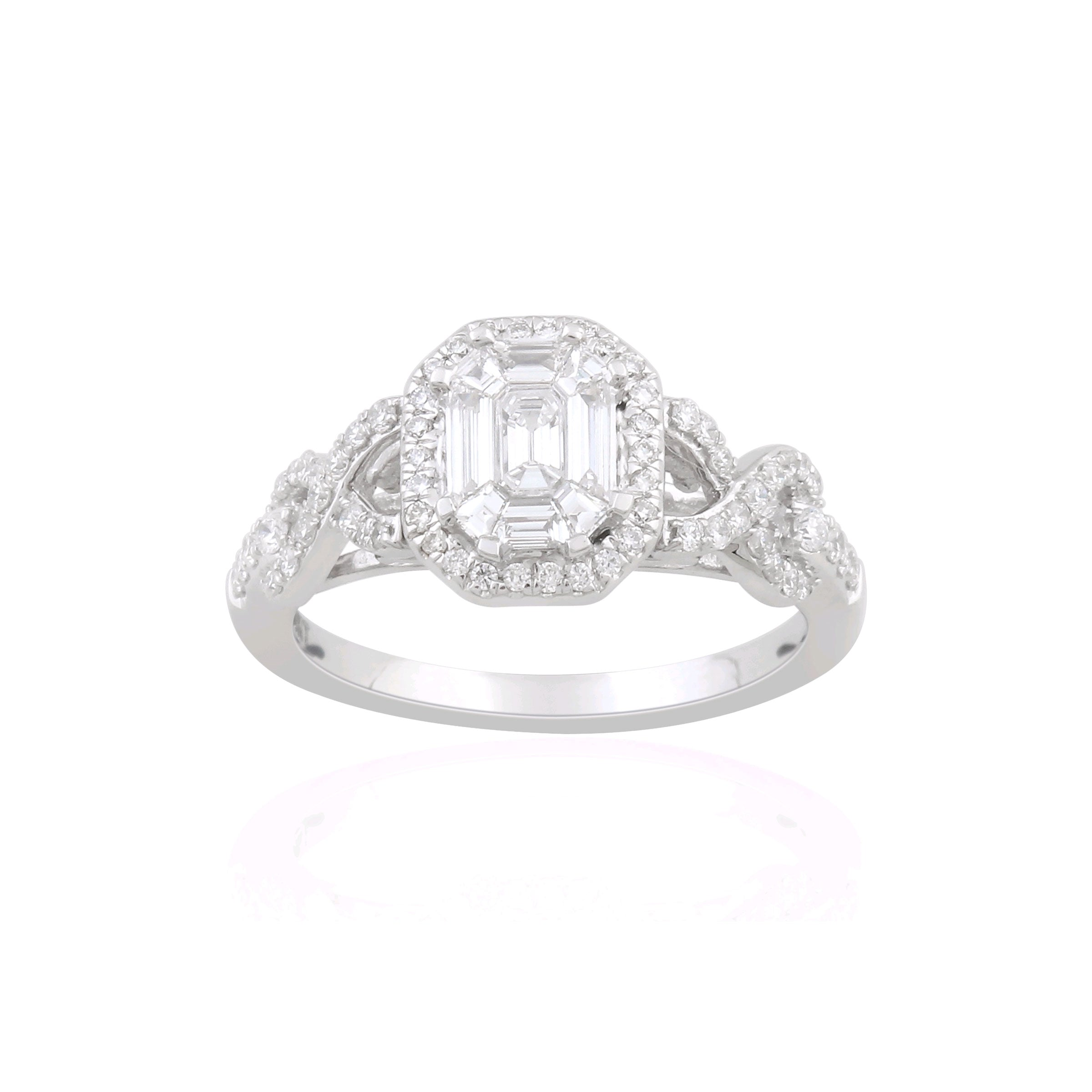 Baguette and Round Diamond Ring, 14K White Gold