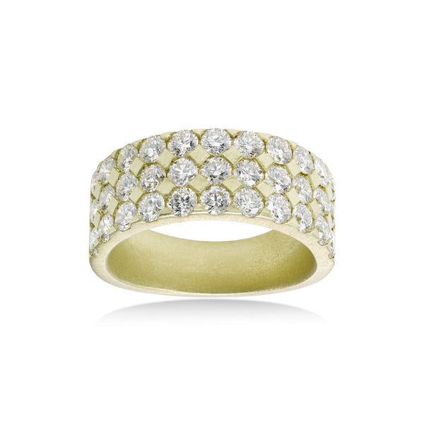 Triple Row Flush Set Diamond Ring, 14K Yellow Gold
