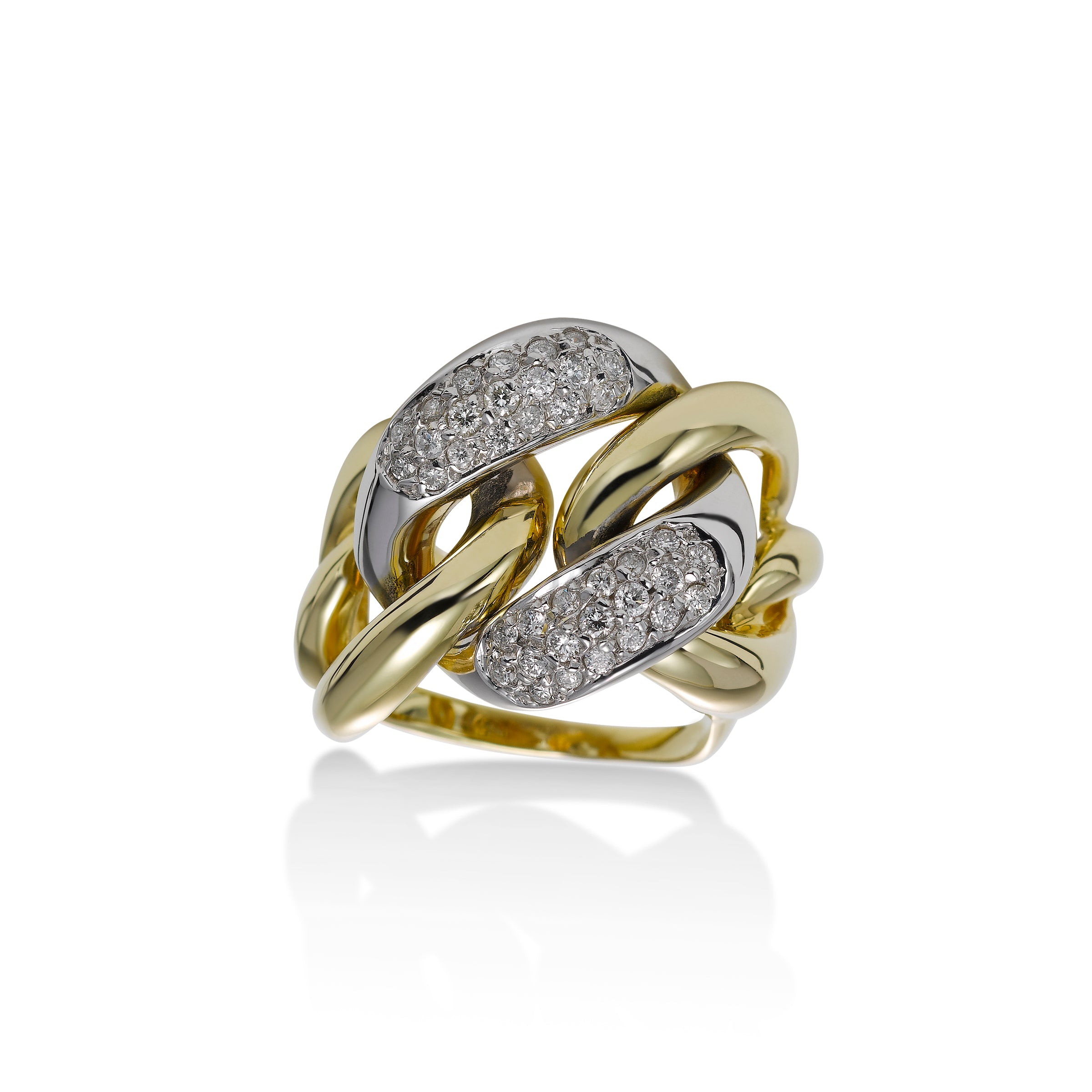 Bold Diamond Pavé Ring, 14 Karat Gold