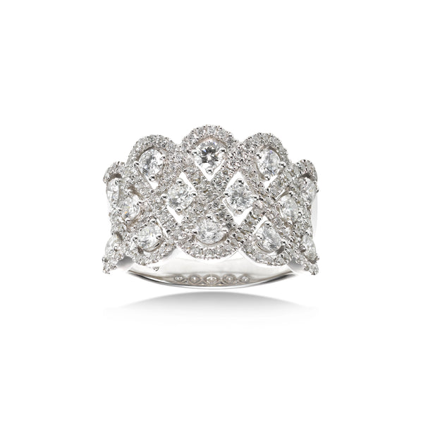 Pavé Diamond Openwork Ring, 18K White Gold