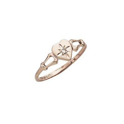 Child's Diamond Heart Ring with Diamond, 14K Yellow Gold
