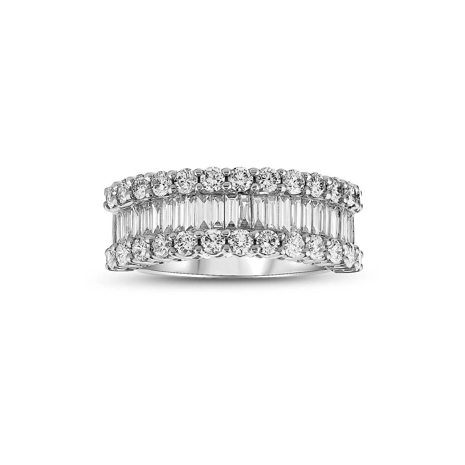 Triple Row Diamond Band, 18K White Gold