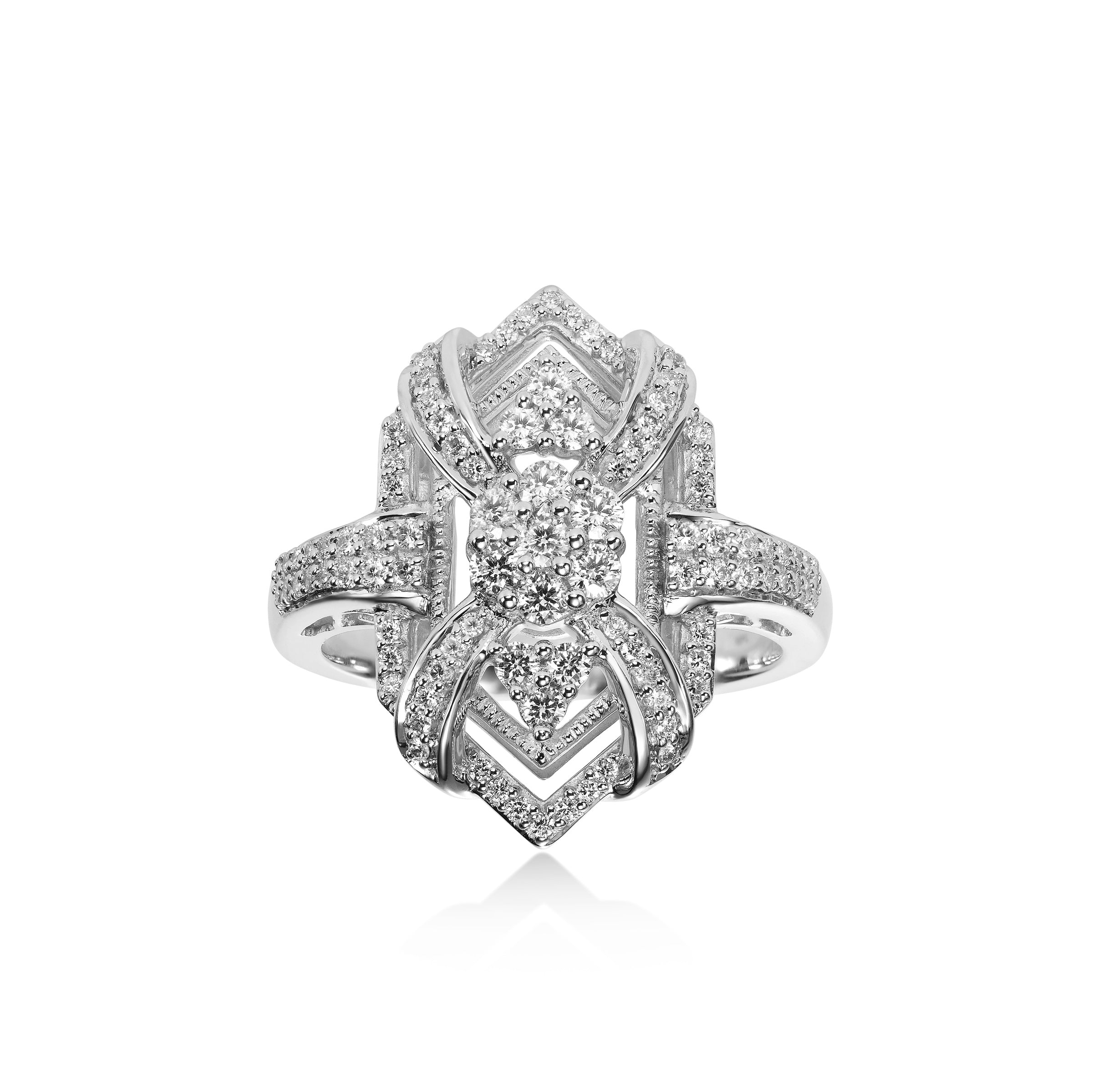 Vintage Style Diamond Ring, 14K White Gold