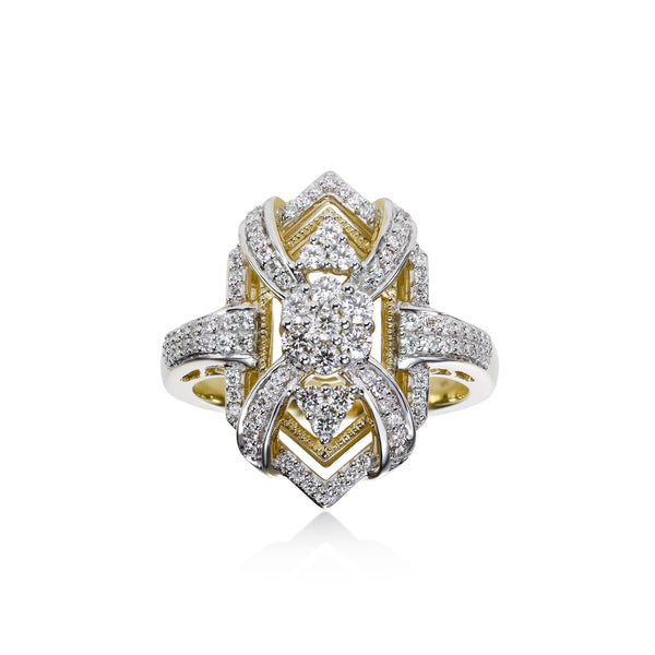 Fancy Statement Diamond Ring, 14K Yellow Gold