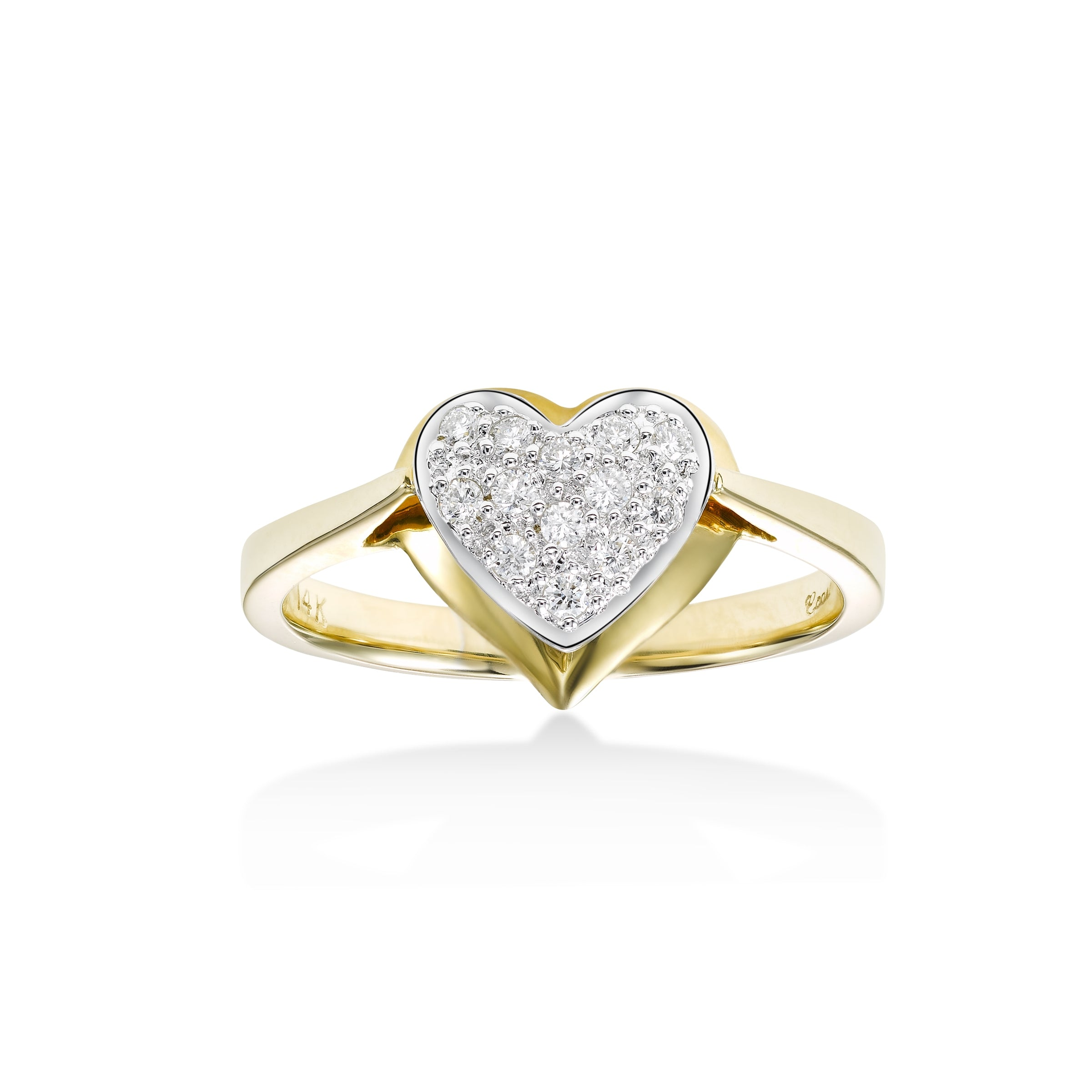 Pavé Diamond Floating Heart Ring, 14 Karat Gold