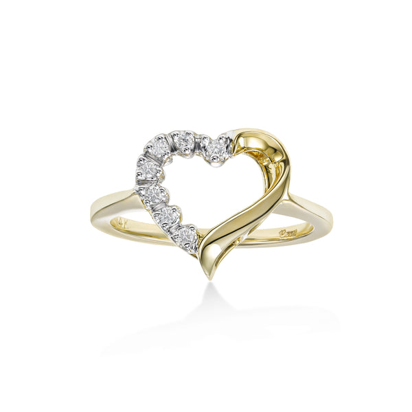 Open Design Diamond Heart Ring, 14 Karat Gold