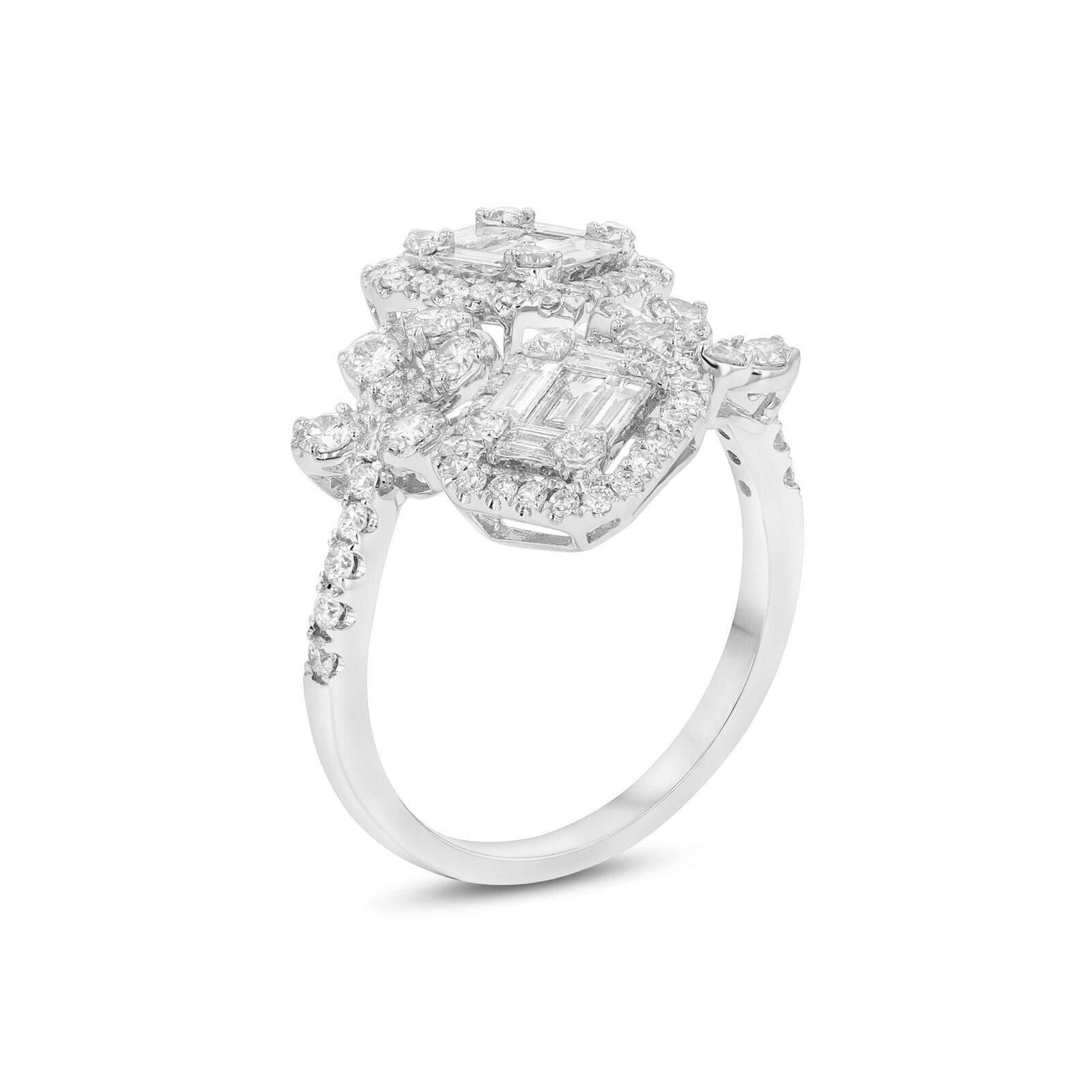 Fabulous Diamond Statement Cocktail Ring, 18K White Gold