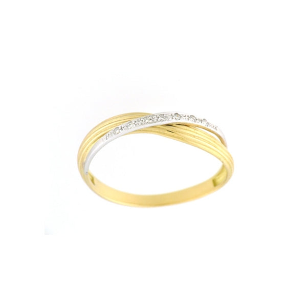Two Tone Crossover Diamond Ring, 18 Karat Gold