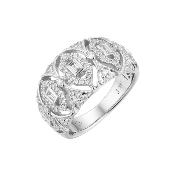 Bold Openwork Diamond Ring, 14K White Gold