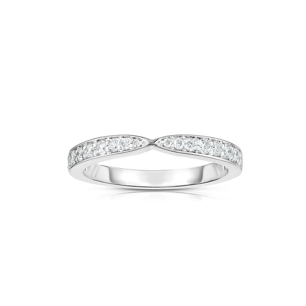 Simple Single Row Diamond Band, 14K White Gold