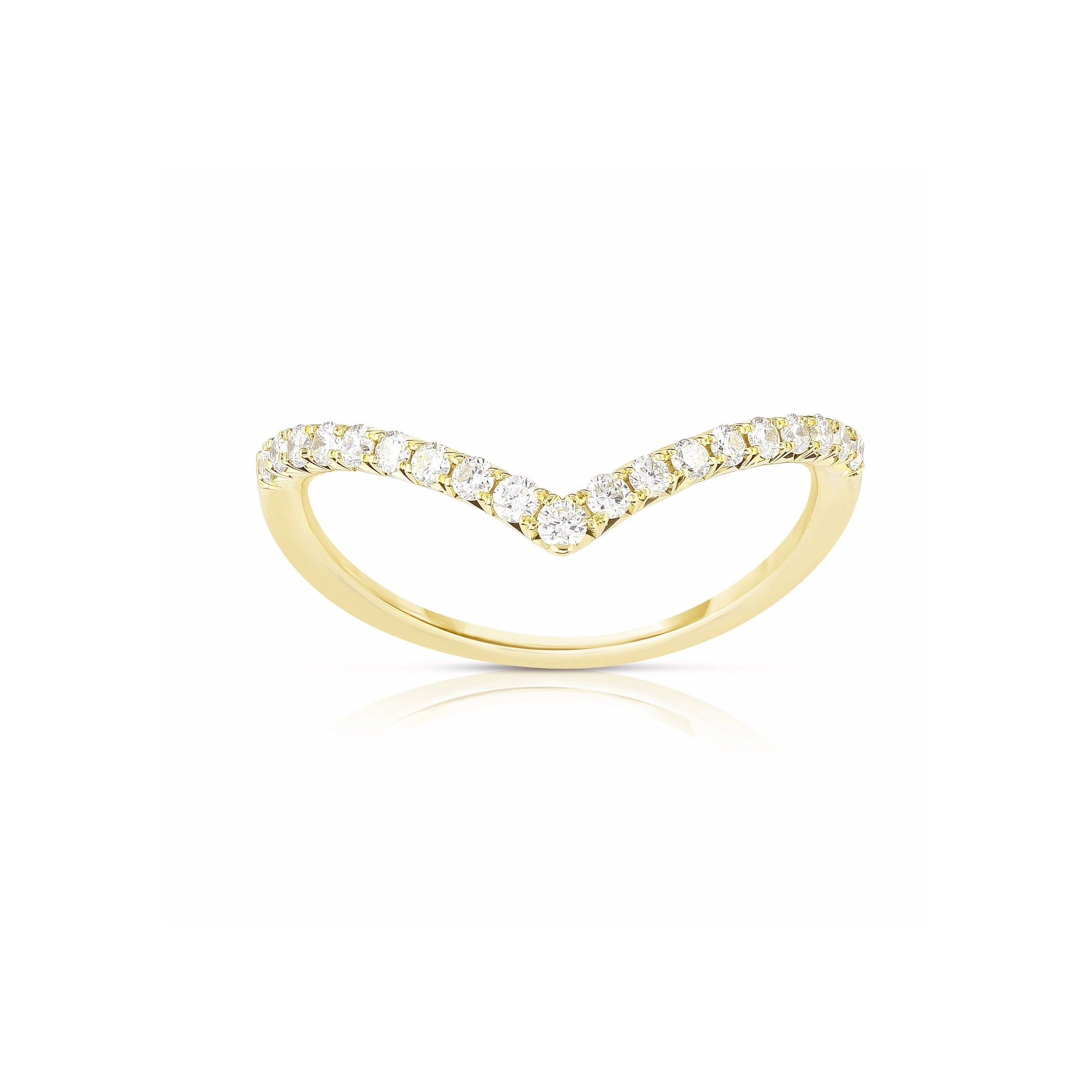 V Shaped Single Row Diamond Band, 14K Yellow Gold