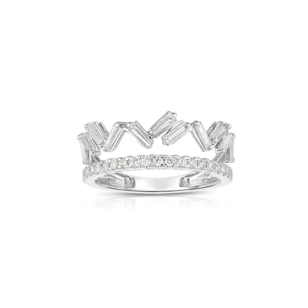 Crown Motif Diamond Ring, 14K White Gold